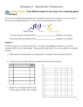 Unit 1 - Introduction to Functions (Lessons)