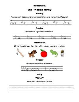 Unit 1 Kindergarten Treasures Reading Series Homework