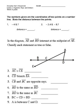 Unit 1 Lesson 2: Segments, Rays, and Distance Worksheet