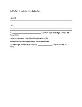Articles of the Confederation (Powerpoint, Notes and a Graphic Organizer)