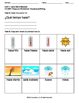 ¿Qué tiempo hace? Spanish Complete Lesson Plan with Worksheets & Assessment