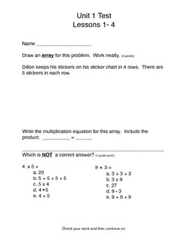 Math Expressions Test: Unit 1 Lessons 1-4: 3rd Grade