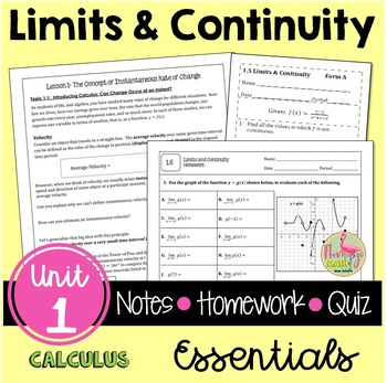 Calculus: Limits and Continuity Guided Notes & Homework Bundle