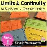 Limits Continuity Activities and Assessments (Calculus - Unit 1)