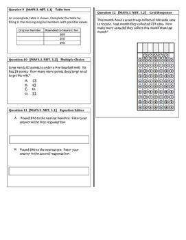 Third Grade Place Value Math Assessments