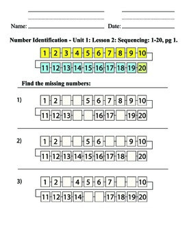 Unit 1: Missing Number Identification 1-20, fill in the blank, sequencing, SPED
