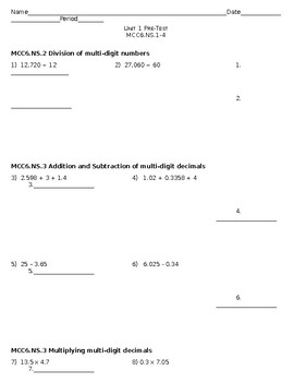 Unit 1 Number System - PreTest GA Standards