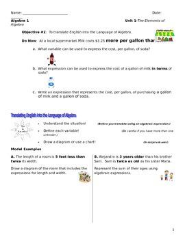 Unit 1 Obj.2: Translate English to Algebra