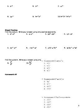 Unit 1 Obj 7: Zero Property and Negative Exponent Properties