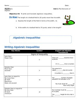 Unit 1 Obj4: Translating algebraic Inequalities