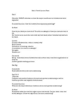 Unit 1 Part 4 Lesson Plans