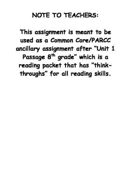 Unit 1 Passage Pairing for Common Core and PARCC 8th grade