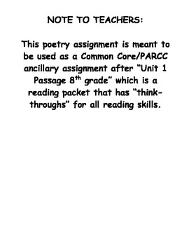 Unit 1 Poetry Common Core and PARCC 8th grade