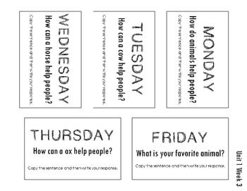 Unit 1 Reading Street Weekly Journal Ideas. 1st Grade.