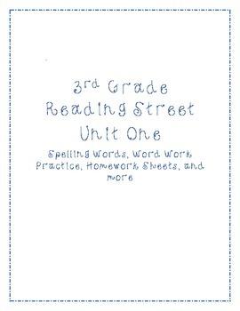 Unit 1 Reading Street Word Work / Spelling List, Activitie