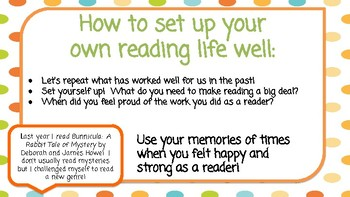 Unit 1 Reading Workshop: Building a Reading Life Lesson 1 GOOGLE SLIDES