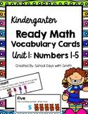 Unit 1 Ready Math Vocabulary Cards for Kindergarten