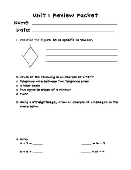 Unit 1 Review Packet- Everyday Math, Grade 4