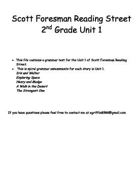 Unit 1 Scott Foresman Reading Street Grammar Assessments - 2nd Grade