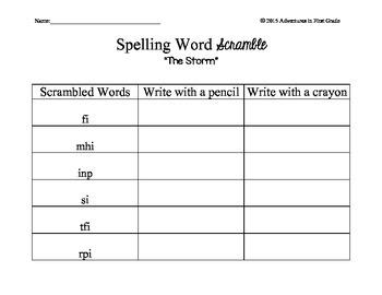 Journeys Unit 1 Spelling Word Scramble