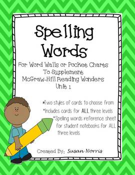 Unit 1 Spelling Words ~ McGraw-Hill Reading Wonders