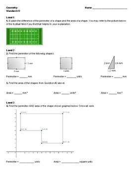 Unit 1 - Shape Dimensions Quiz