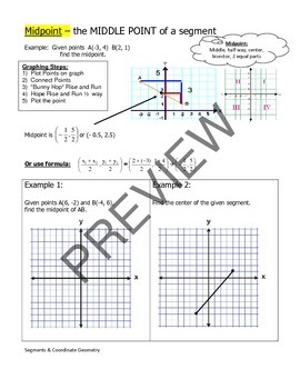 Geometry Unit 1 Notetaking Guide - Midpoint Distance Slope