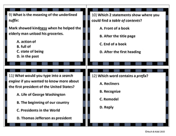 Unit 1 Task Cards - Year's Worth - Reading Review