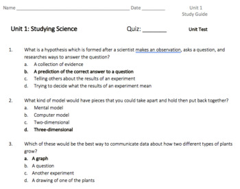 Unit 1 Tennessee Science Study Guides (Lesson Quizzes and Unit Test) HMH