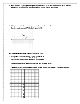 Unit 1 Test: Foundations for Geometry PDF with Answers