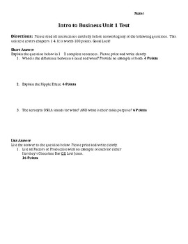 Unit 1 Test - Intro to Business Ch. 1 - 4