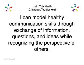 1: Unit 1 Total Health Learning Target Posters for your bulletin board