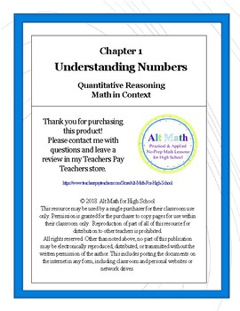Unit 1 Understanding Numbers (High-school Quantitative Reasoning)