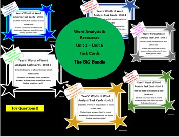 Unit 1 - Unit 6 Task Cards Big Bundle - Year's Worth - Reading Review