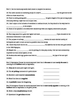 Unit 1 Vocabulary Test based on Orange Sadlier Workbook Level G