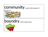 Unit 1 Vocabulary Word Wall for Communities Near and Far