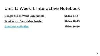 Unit 1: Week 1 Interactive Notebook Benchmark Advance