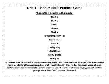Unit 1 (Reading Street) Phonics Practice Word Cards