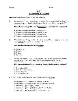 Unit 1 Week 1 Reading Wonders 3rd Grade Vocabulary in Context (Test)