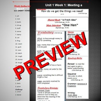 Unit 1 Week 1 Skills Guide for Fifth Grade based McGraw Hill Wonders  ONE HEN