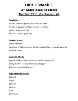 Unit 1 Week 1 Vocabulary List- The Twin Club- 2nd Grade Reading Street