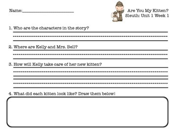 Unit 1 Week 1 Sleuth Comprehension Questions Freebie!!!