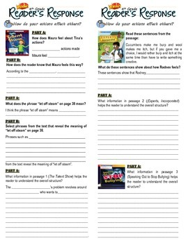 Unit 1 Week 2-Reader's Response (4th Grade McGraw-Hill Wonders)