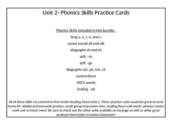 Unit 2 (Reading Street) Phonics Practice Cards