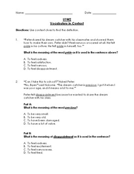 Unit 1 Week 2 Reading Wonders 3rd Grade Vocabulary in Context (Test)