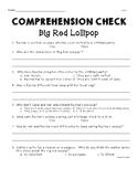Unit 1 Week 2 Second Grade Wonders Big Red Lollipop Comprehension Check