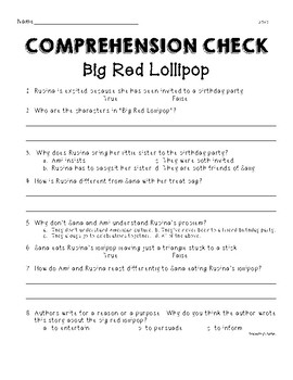 Unit 1 Week 2 Second Grade Wonders Big Red Lollipop Comprehension Check