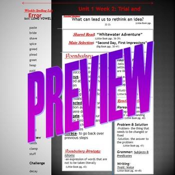 Unit 1 Week 2 Skills Guide for Fifth Grade based McGraw Hi