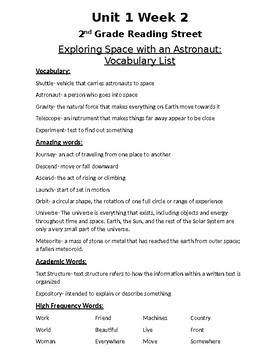 Unit 1 Week 2 Vocabulary List: Exploring Space... -2nd Grade Reading Street