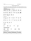 Kindergarten Reading Wonders Homework SheetUnit 1 Week 3